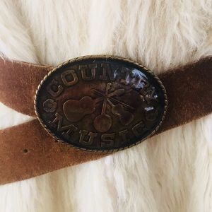 Country music leather buckle belt S